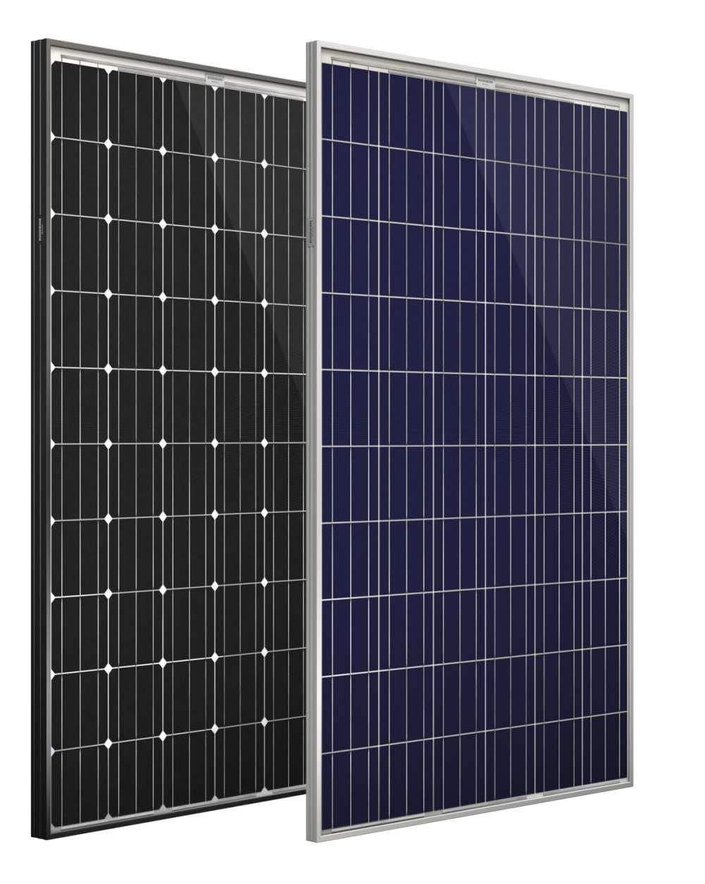 Bild mit 2 Modulen: Photovoltaikmodule: Mono (li.) und Polymodul (re.)